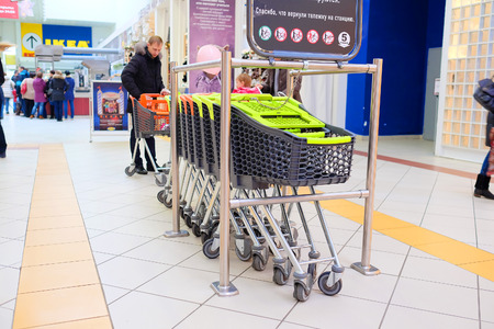 Moscow, Russia, December, 28, 2014: Shopping cart in the shopping center Mega on December, 28, 2014