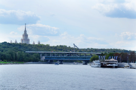 pleasure boat: the image of a pleasure boat on the Moscow river