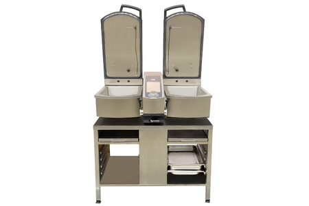 fryer: professional deep fryer isolated under the white background Stock Photo
