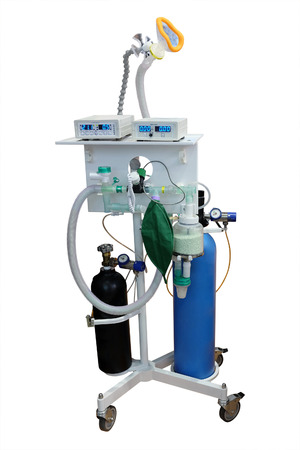 medical ventilator: artificial respirating unit isolated under the white background Stock Photo