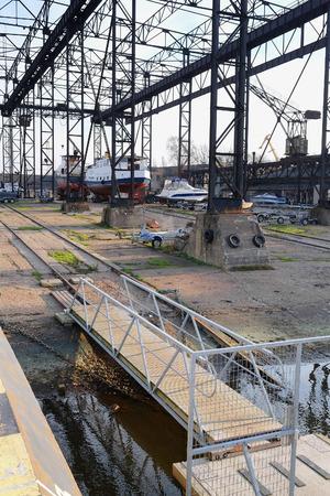 shiprepair: Klaipeda, Lithuania, November, 18, 2014: shiprepair yard in Klaipeda