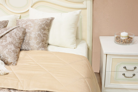 bedspread: close-up of a bedroom in modern style