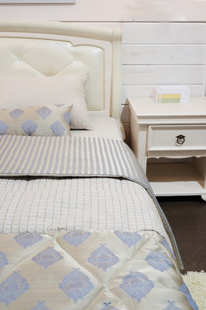 counterpane: close-up of a bedroom in modern style