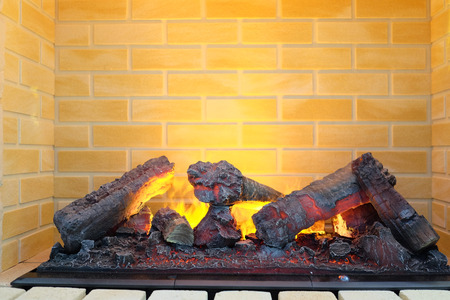 ignited: closeup electric fireplace