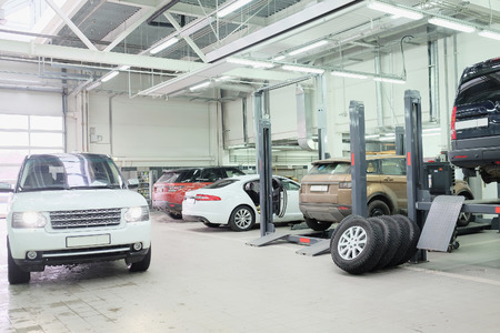Moscow, Russia, December, 3, 2014: Cars in a car-repair center in Moscow, Russia