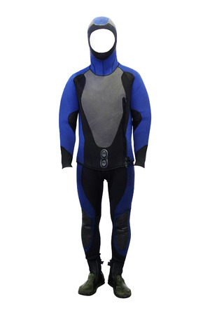 show case: mannequins in a diving suit Stock Photo