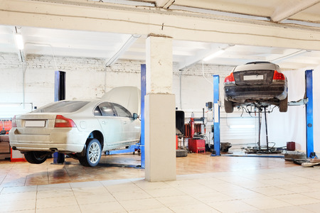 car service station: Image of a car repair garage Editorial