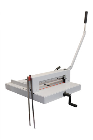 guillotine: Guillotine paper cutter on white background