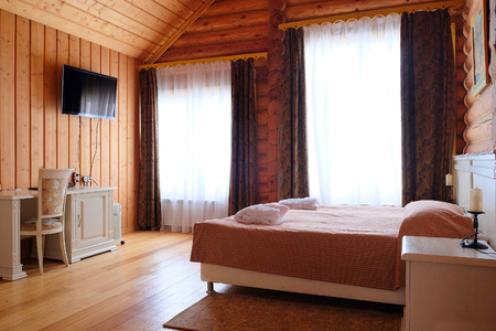bedspread: Interior bedroom in a country house