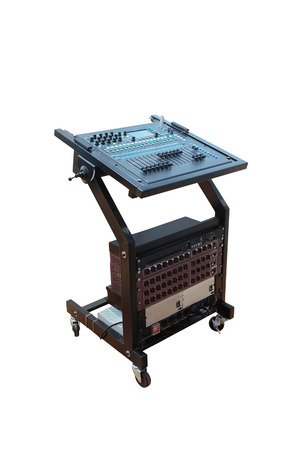 timbre: image of audio control desk under the white background Stock Photo