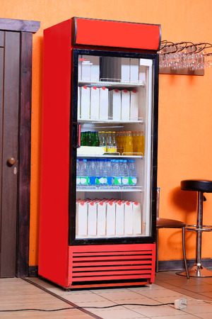 beverage display: Commercial refrigerator to store drinks Stock Photo