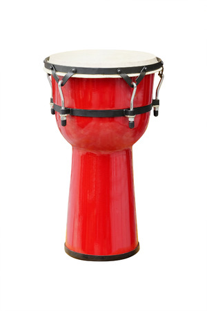 hand jamming: Image of red ethnic african drum under the white background Stock Photo