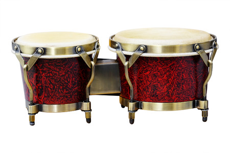 Latin percussion, Bongos isolate on white background photo