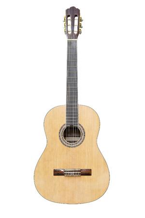 Het beeld van akoestische gitaar dat onder de witte achtergrond wordt geïsoleerd Stockfoto