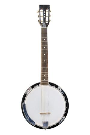 Das Bild der weißen Banjo unter dem weißen Hintergrund isoliert Standard-Bild