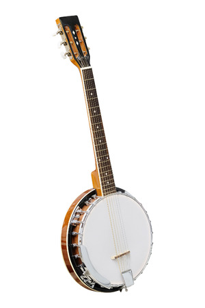 The image of white banjo isolated under the white background Stock Photo