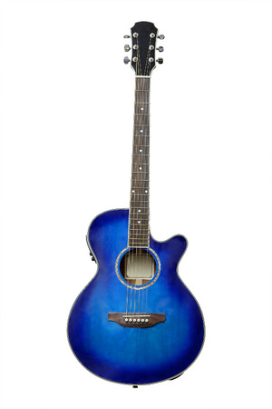 The image of blue acoustic guitar isolated under the white background