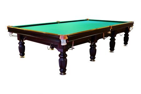 billiards halls: large green pool table Stock Photo