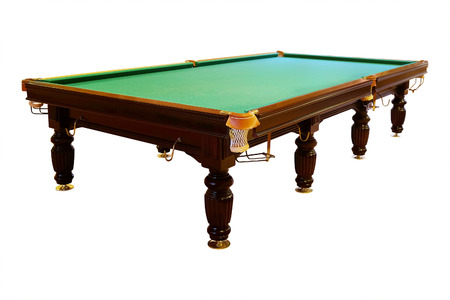 pool halls: large green pool table Stock Photo