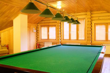 billiards halls: large green pool table Editorial