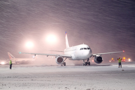 undercarriage: Moscow, Russia, February, 09,2015: plane parked at the airport in winter