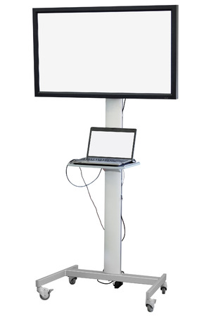 conclusions: monitor with stand isolated under the white background Stock Photo