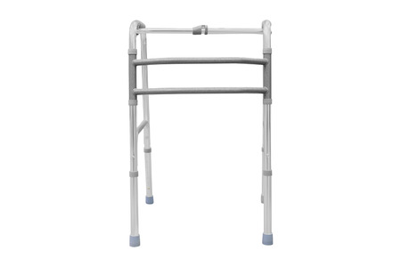 aide: Adjustable folding walker for elderly, disabled isolated on white