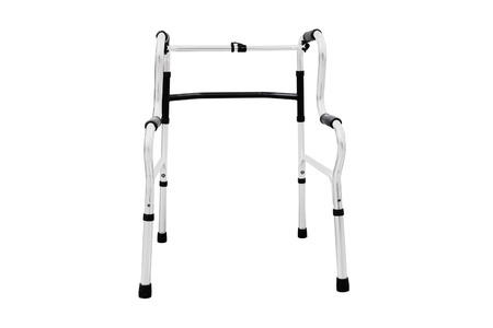mobility nursing: Adjustable folding walker for elderly, disabled isolated on white