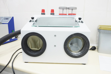 sandblasting: Sandblasting dental apparatus isolated under the white background Stock Photo