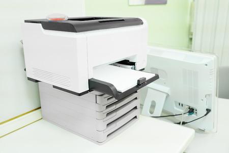secretarial: Printer isolated under the white background Stock Photo