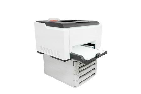 secretarial: Printer isolated under the white background Stock Photo