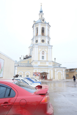 nobel: RUSSIA, KALUGA REGION, KOZELSK - FEBRUARY, 23, 2015: St. Nicholas Church at the Nobel hill Editorial