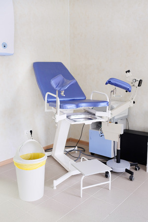 aseptic: The image of blue gynecological chair Stock Photo