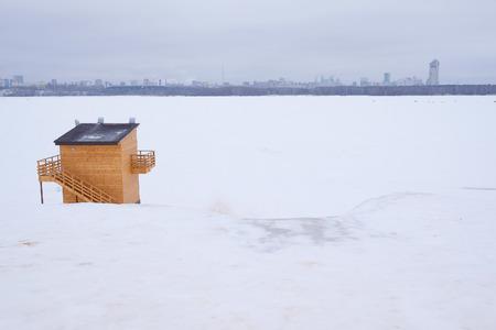 kiosk: Winter, wooden kiosk Stock Photo