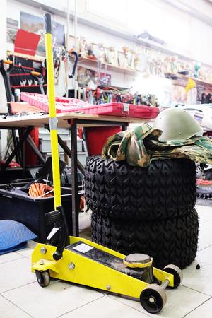 lifting jack: Image of a car repair lifting jack Stock Photo