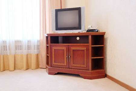 nightstands: Close up of  TV in hotel room Stock Photo