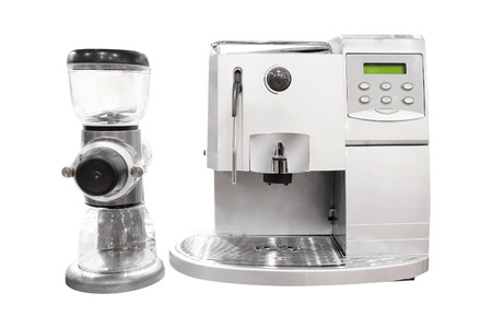 Professional coffee machine isolated under the white background Stock Photo