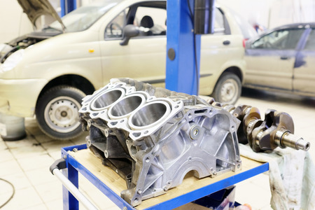 explosion engine: The image of cylinder block of truck engine