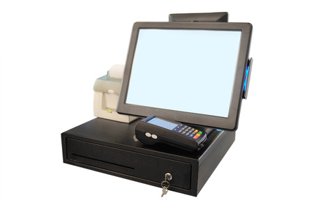 Point of sale touch screen system with thermal printer and cash drawer