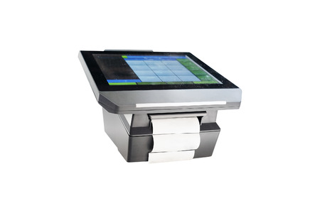 Slim profile touchscreen point of sale terminal Stock Photo