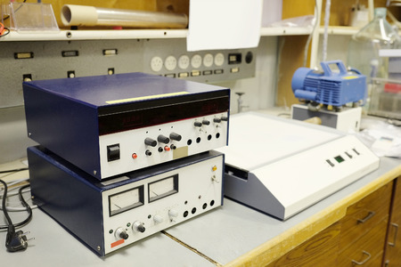 electrophoresis: Equipment for conducting experiments in laboratory.  Electrophoresis dc, power supply Stock Photo