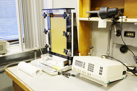 electrophoresis: Equipment for conducting experiments in laboratory. Electrophoresis programmable power supply Stock Photo