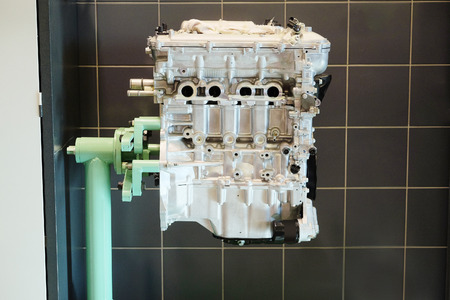 cylinder block: The engine on the stand for repair