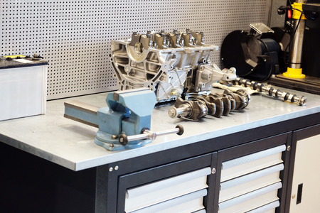 cylinder block: The cylinder block on the desktop