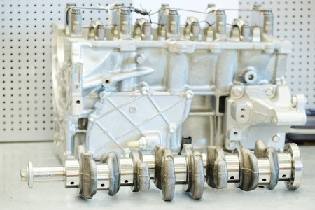 sparking plug: The image of a camshaft of car engine Stock Photo