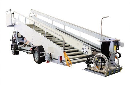 limitations: Airfield self-propelled passenger ladder for wheelchairs isolated under the white background