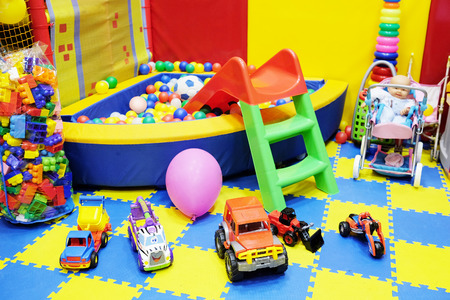 playroom: Many toys in the childrens playroom Stock Photo