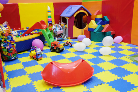 Many toys in the childrens playroom Stock Photo
