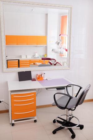 overbite: Desk doctor in dental clinic