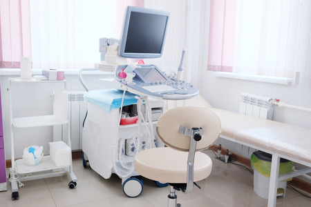 medical equipment: Interior of medical room with ultrasound diagnostic equipment Stock Photo